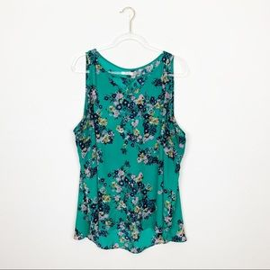 Maurices Floral Caged Swing Tank Top Blouse Size 3